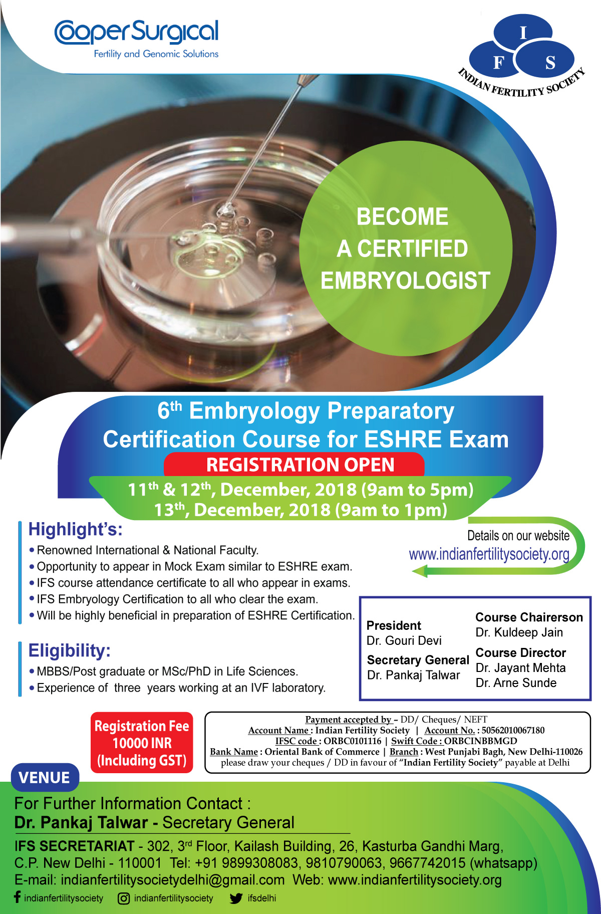 6th Embryology Preparatory Certification Course for ESHRE